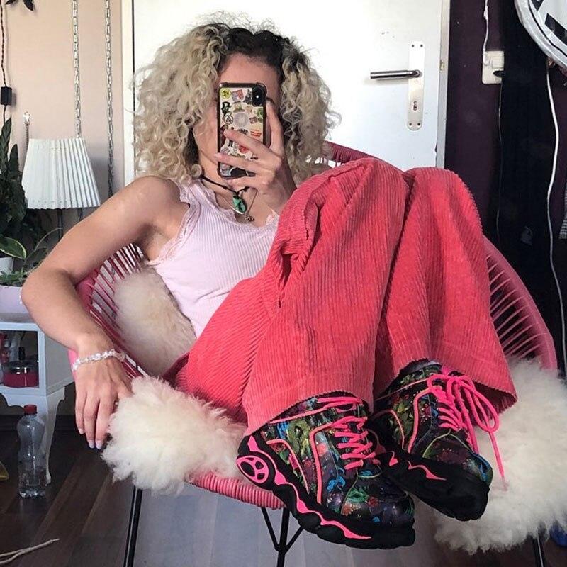 2020 Spring Pink Corduroy Pants Women High Waist Streetwear Clothes Loose Trousers Women Hip Hop Style Pants