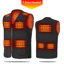 7 Area Heated Vest Unisex USB Electric Men Coat Thermal Hunting Jacket Winter Black Outdoor Flexible Warm Waistcoat