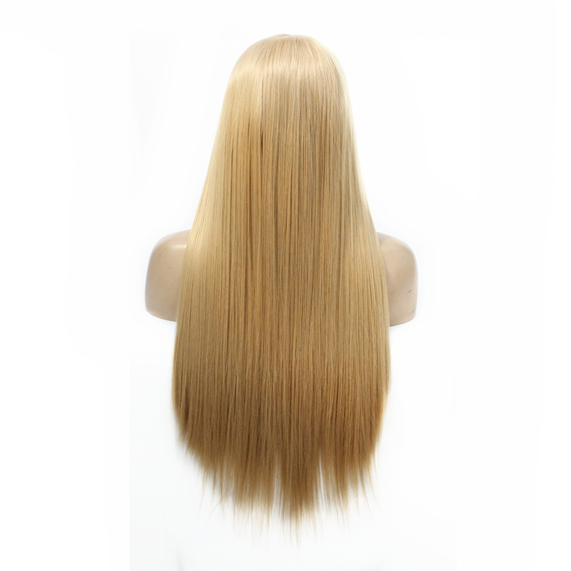 #27 Ash Blonde Synthetic Lace Front Wigs For Women Middle Part Long Silky Straight Wig With Natural Hairline Heat Resistant