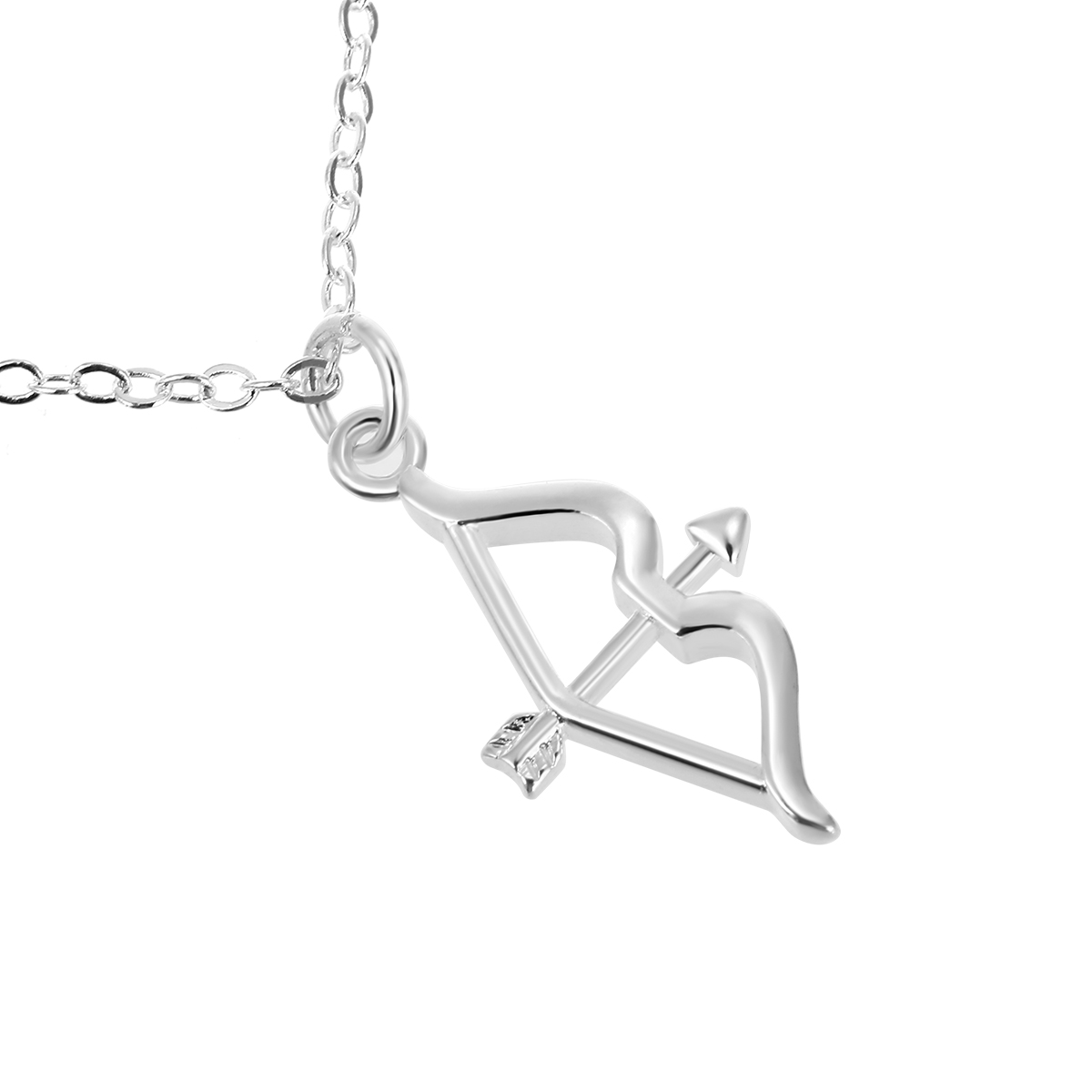 Charming Bow Arrow Pendant Chain Necklace Vintage Silver Plated Collar Necklaces Kolye Female Bijoux For Women Jewelry Shellhard