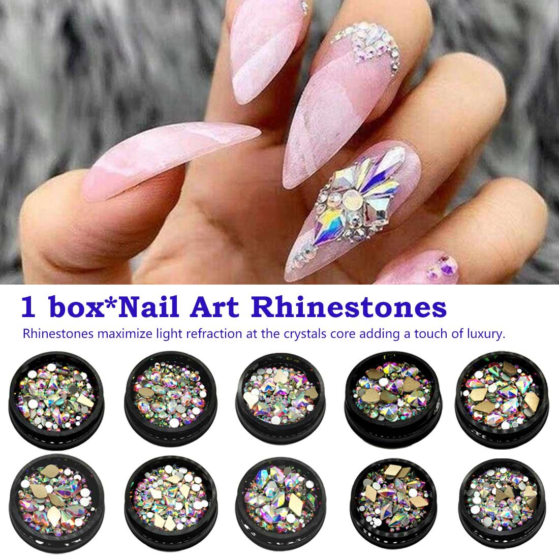 Lot 50x Top Crystal AB Czech Crystal Rhinestone Flatback Nail Art Decoration DIY