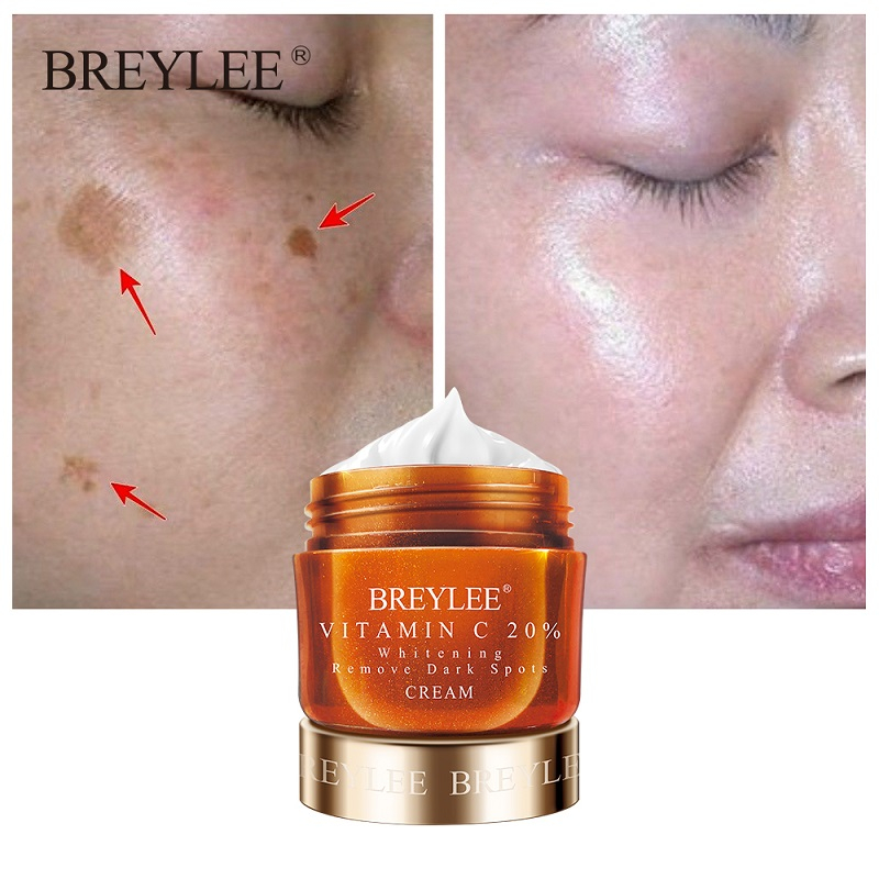 BREYLEE Vitamin C 20% VC Whitening Facial Cream Repair Fade Freckles Remove Dark Spots Melanin Remover Brightening Face Cream