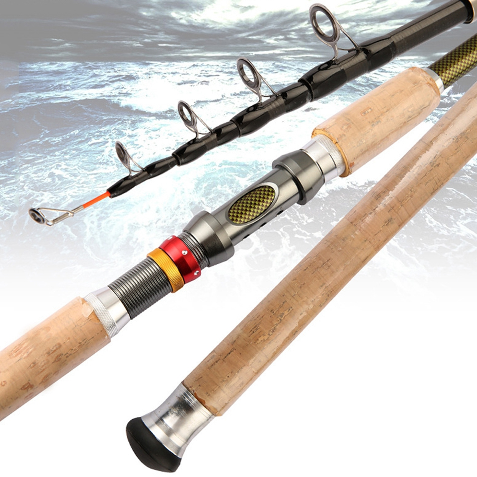 Carbon-Spinning-Rod Telescopic Wooden-Handle Long-Shot Lure Sea-Pole title=