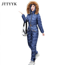 Jumpsuits One-Piece Winter Casual Cotton Women's Hooded Zipper Straight JTTYYK Padded