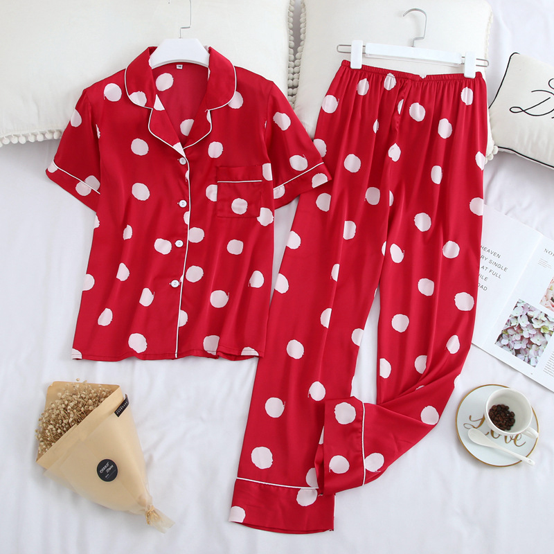 JULY'S SONG Women's Pajamas-sets  Lapel Collar Casual Polka Dot Short Sleeve Long Pants Homewear Summer Faux Silk Soft Sleepwear