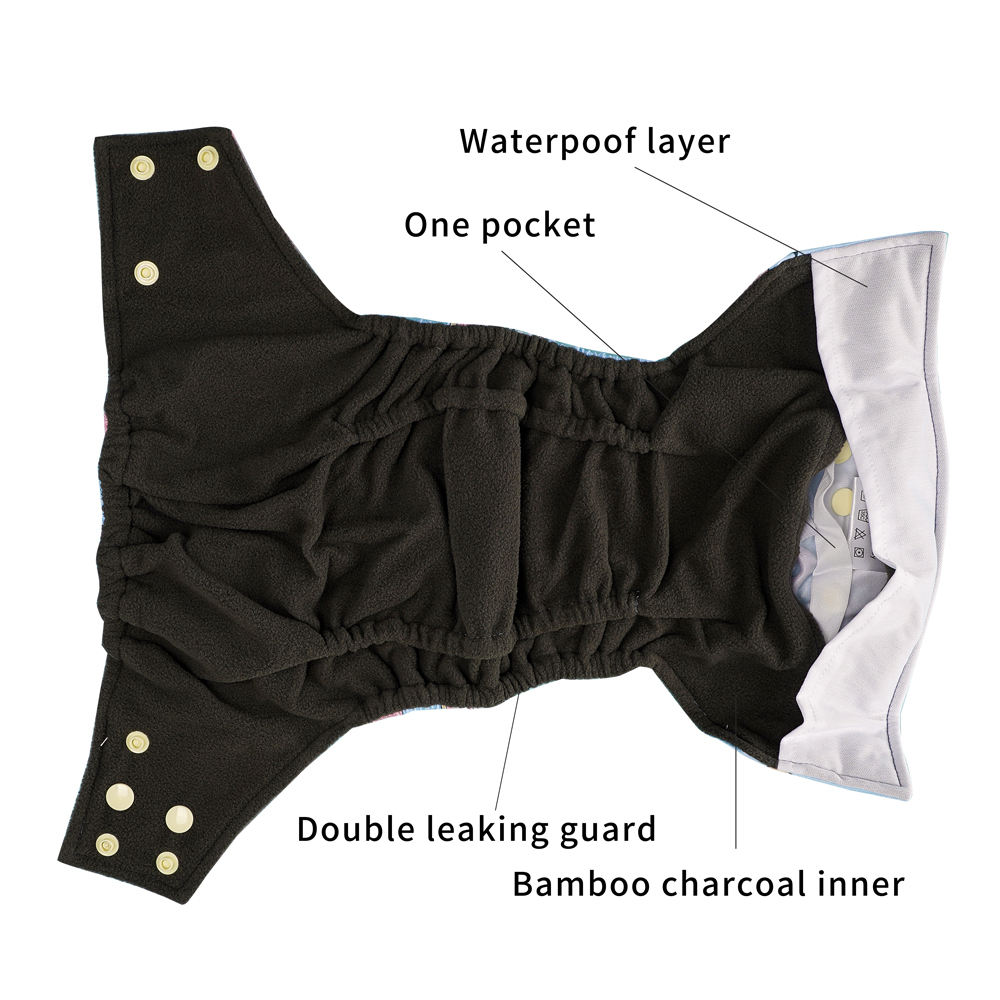 Happy Flute Washable and Reusable Baby Bamboo Charcoal Pocket Cloth Diaper With One Opening Fit 3-15kg Baby
