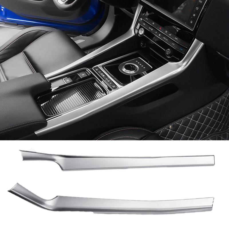 For Jaguar F-PACE 2016 2017 2018 ABS Chrome Side Central console cover trim 2PC