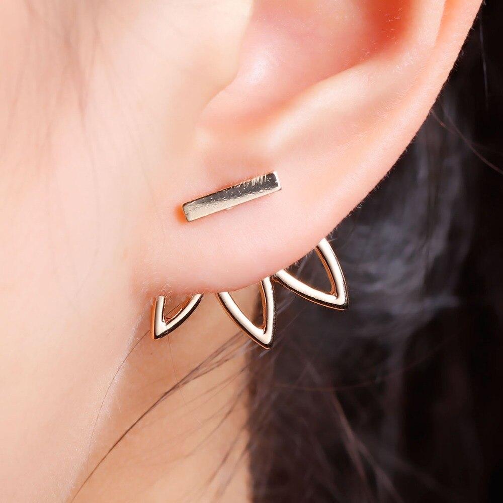 1 Piece Vintage Lotus Earrings Metal Bar Stud Earrings