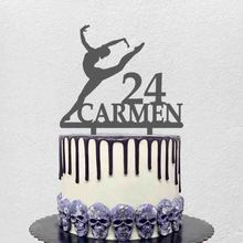 Topper Gymnastics-Cake-Topper Ballerina-Cake Name Birthday-Party Custom Personalized