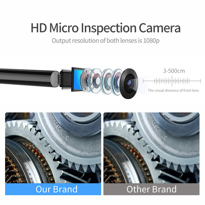 8mm Wifi Endoscope Camera IP67 Waterproof WiFi Borescope 1080P HD Dual Inspection Camera for Android Iphone iOS With 8 LED