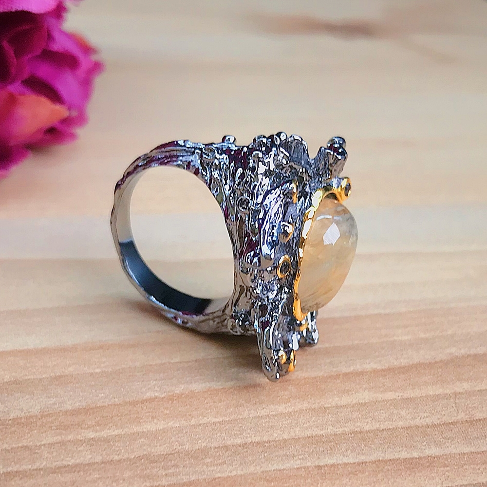 WA11787 DreamCarnival1989 Amazing Women Rings Rough Stone Wedding Engagement Ring Strong Character Water Melon Zircon Gun Color A (9)