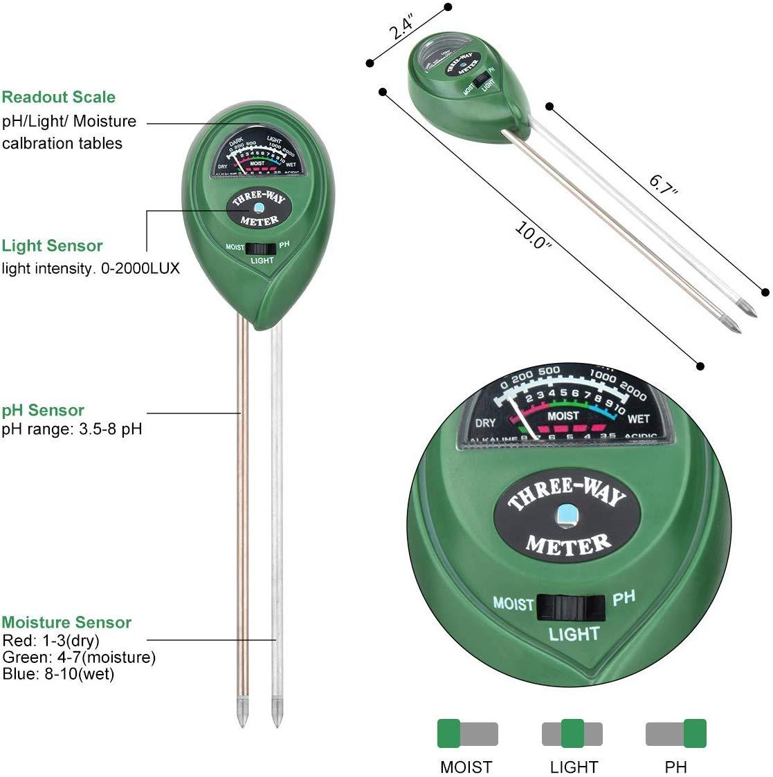 Soil Testing Kit Mooncity 3 In 1 Soil Tester Moisture Meter Light And PH Ac GIFT