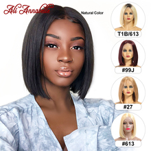 Bob-Wig Lace Wig Short Human-Hair-Wigs Hairline Lace-Front Natural Straight Full-End
