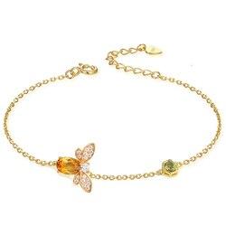 Ламон милый пчелиный 925 пробы Серебряный браслет женский любовь цитрин драгоценные камни Ювелирные изделия 14 к позолоченные дизайнерские у...