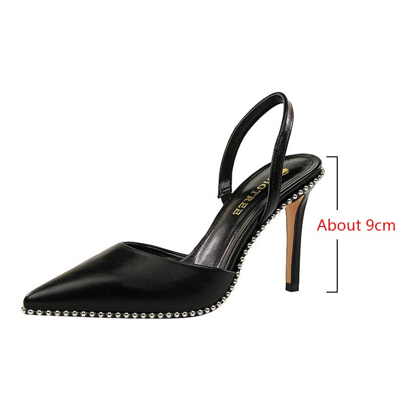 Sexy sandals women/'s high-heeled rivet sandals pointed toe stiletto sandals nightclub party high-heeled sandals Zapatos de mujer