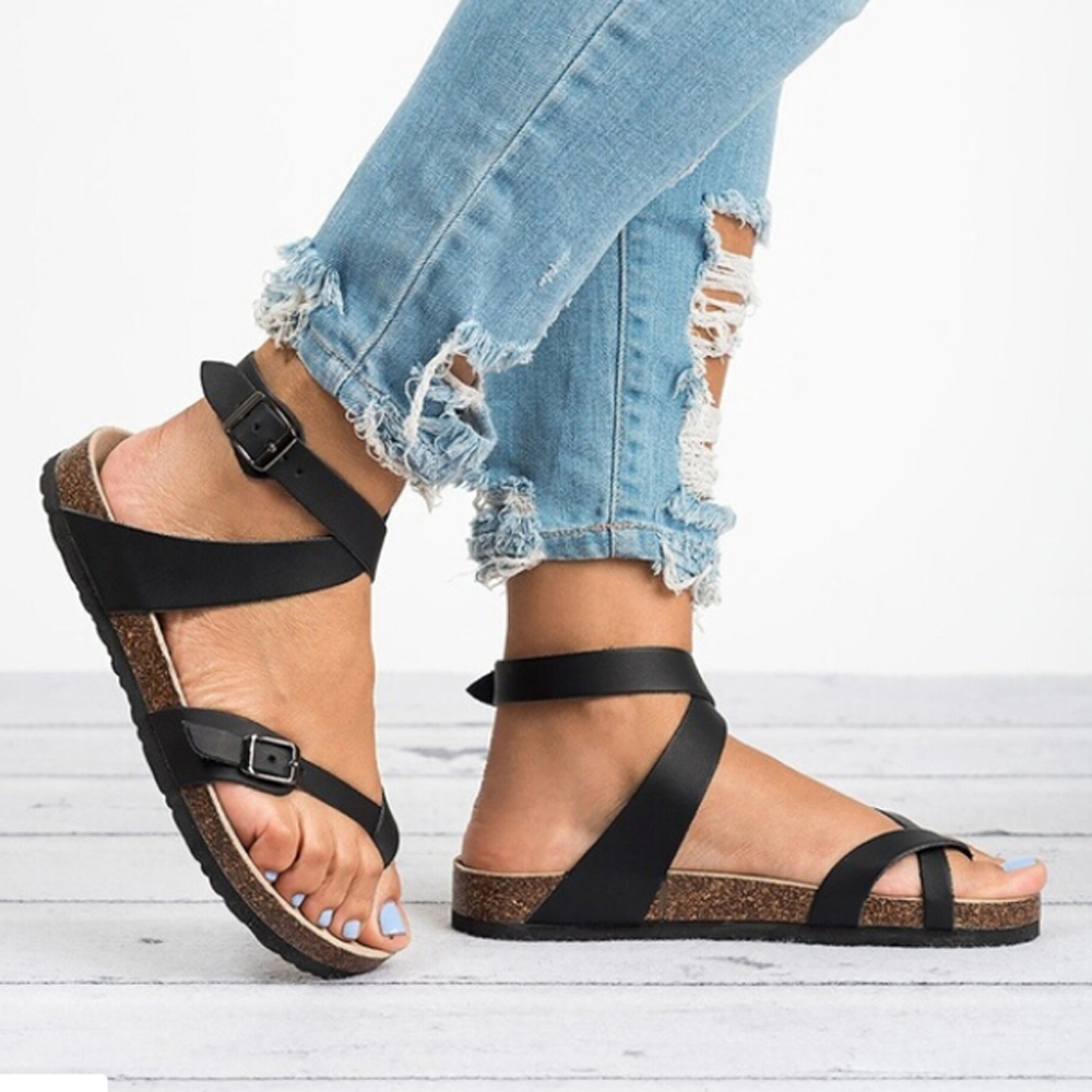 Women/'s Sandals Shoes 2019 Summer Toe Thick Flat Solid PU Casual Girl Beach Female Flops Ladies Footwear Women Black Brown 35-43