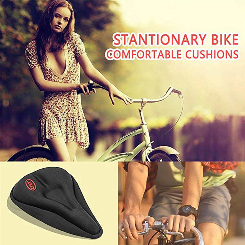 Human - New Wider Bicycle Silicone Seat Cushion Soft Pad Bike Silica Gel Seat Saddle Cover Ergonomic Comfort Seat Pads