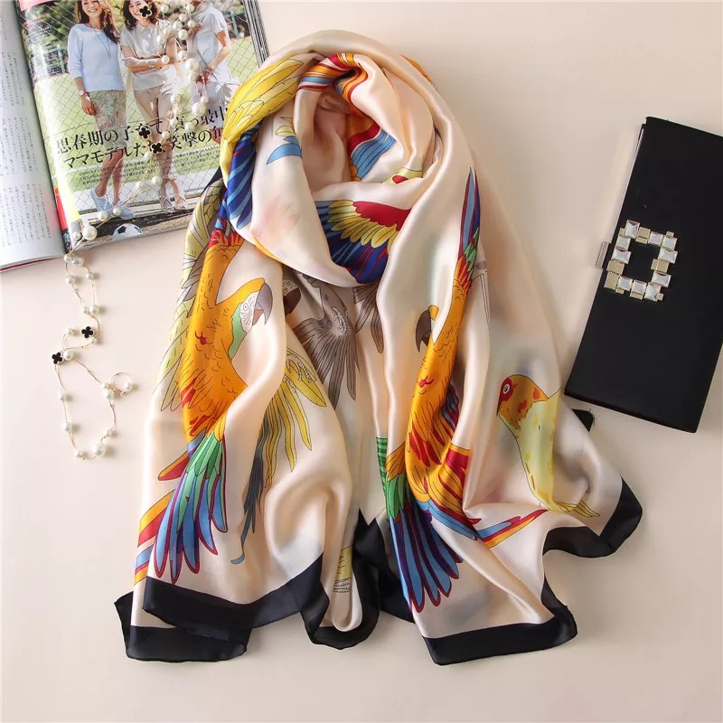 luxury brand silk scarf summer women  female scarves ladies beach wrap chiffon shawl bandanna sunscreen foulard muffler pareo