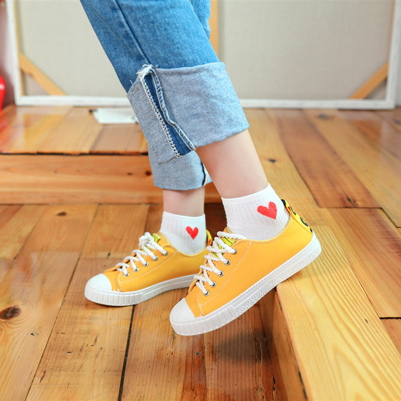 5 pairs Women Short Socks Red Heart Cute College Comfortable Female Socks Soft Cotton Spring Summer Autumn Girls Sock Meias Sox