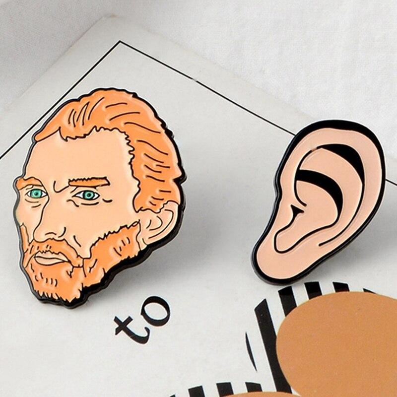 Van Gogh Avatar Pins Ear Cartoon Alloy Brooch Personality Badges Top