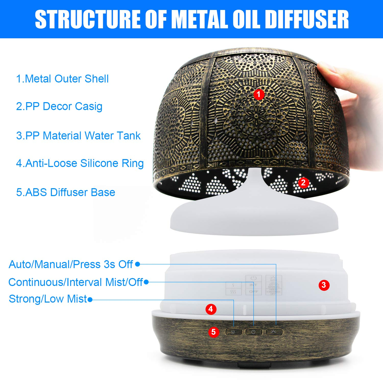 Clothing - Aroma Diffuser 500ml bronze Metal Aromatherapy Diffuser for Essential Oil 7 Color Fragrance Lamp Humidifier
