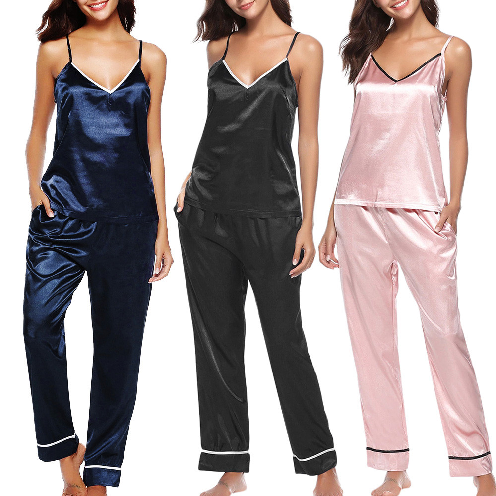 Silk Satin Pajama-Set Wear Sleep-Two-Piece Plus-Size Women's Sling Casual -Yl10 title=