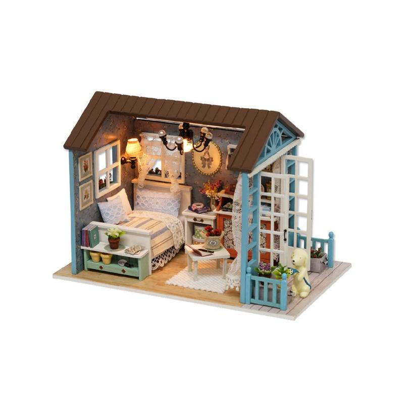 DIY Miniature Dollhouse Kit Realistic Mini 3D Wooden House Room Craft Y4I9