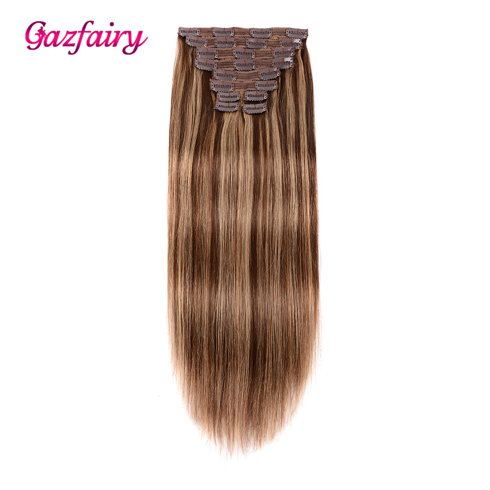 Gazfairy Clip-In Human-Hair-Extensions Full-Head Hair-22'' Remy Straight 10pcs/Set Silky title=