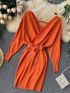 Yuoomuoo Sweater Dress Batwing-Sleeve Knitted V-Neck Long Korean Autumn Winter Women