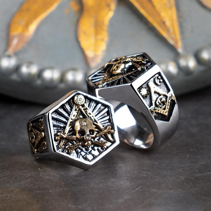 Stainless Steel Freemasons Masonic Floral Compass Mens Hexagon Crest Signet Ring