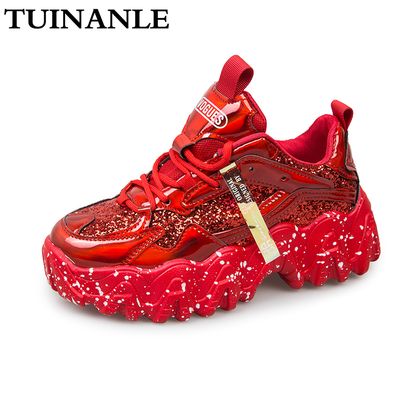 Sneakers Women Spring 2020 Fashion Sequined Cloth Bling Breathable Round Toe Leisure Chunky Women Shoes Tenis Feminino TUINANLE