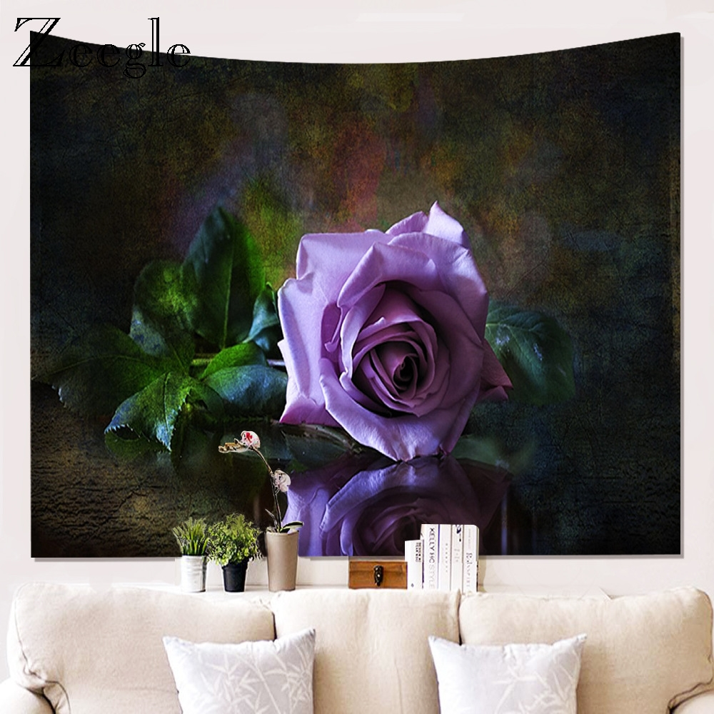 Zeegle 3D Printed Flower Wall Hippie Tapestry Polyester Fabric Home Decor Wall Rug Hanging Big Couch Blanket Bed Account