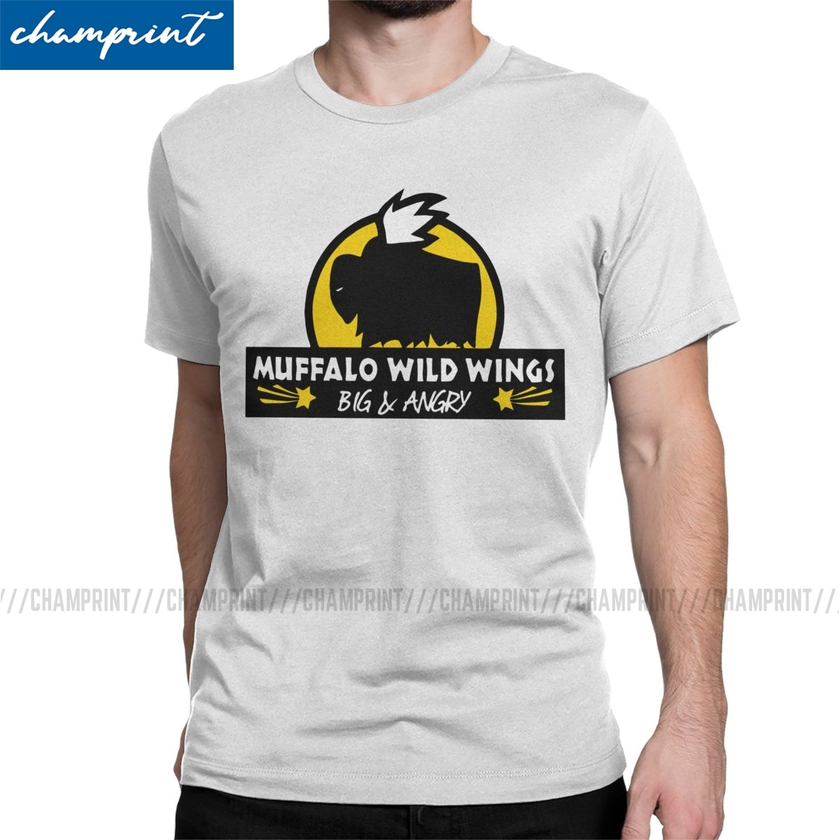 Muffalo Wild Wings T-Shirts for Men Rimworld Rim World Meme Game Humorous Cotton Tee Shirt O Neck T Shirts New Arrival Clothes
