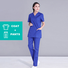 Suit Spa-Uniform Womens Salon Work-Wear V-Neck Beauty HTTHDD New Royal-Blue Pet-Shop