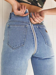 Jeans Women Pencil-Trousers Boyfriend Back-Zipper High-Waist Denim Shinny Streetwear