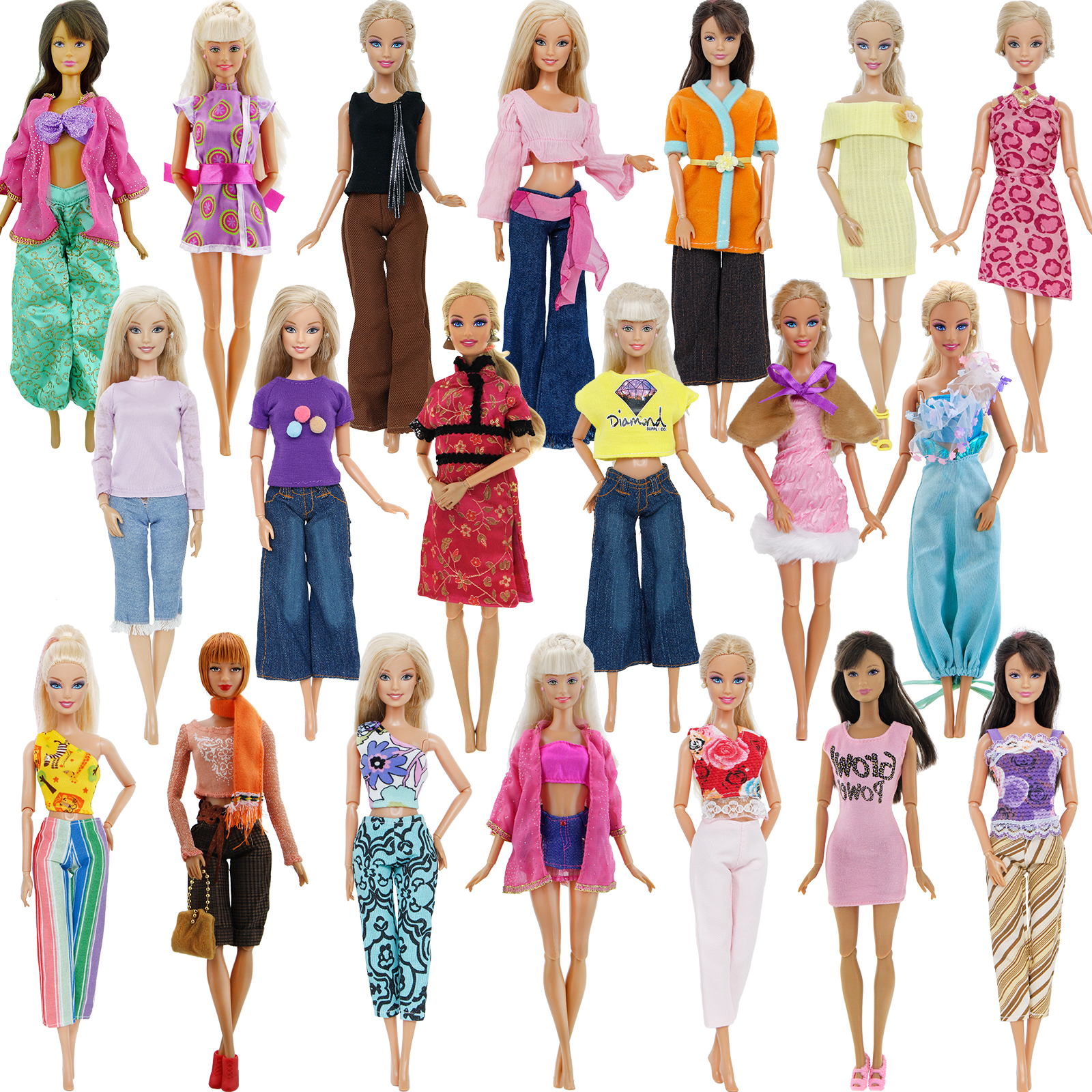 5 Set Doll Clothes Outfit 5 Tops 5 Trousers Pants for Barbie Doll Style Gift