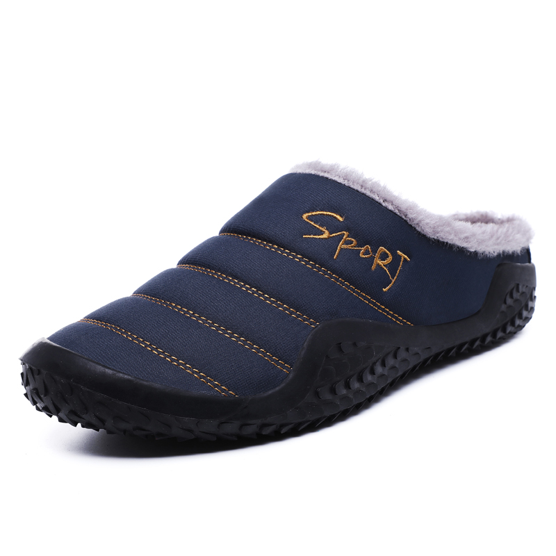Coslony 2019 Shoes Men Winter Slippers Warm Waterproof Canvas Shoes With Fur Plus Size 39-48 Outside Slippers Casual  Non-slip