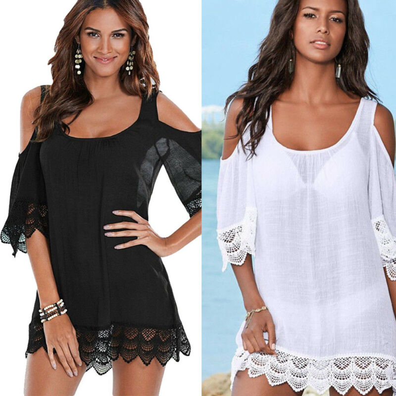 Swimwear Kimono Dress Bikini Cover-Up Bathing-Suit Crochet Lace Beach-Wear Sexy Women title=