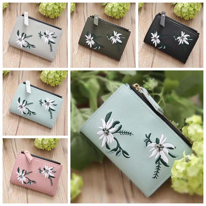 Flower Money Organizer Short Luxury Brand Wallet With Zipper Small Embroidery Holders Hot