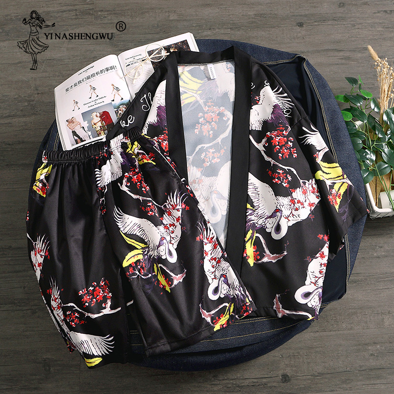 Kimono Cardigan Men Yukata Women Men Japanese Kimono Traditional Top and Pants Sets Summer Beach Thin Casual Shirt Kimonos Femme