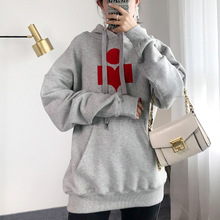 Casual Sweatshirt Hoodie Letter Velvet Warm Autumn Thick Winter Women Cotton Print Plus