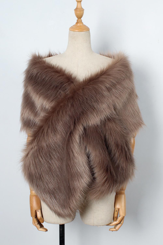 The autumn and winter new imitation fur big cape neck scarf multi-color joker scarf bride dress cross cape (17)