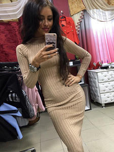 Midi Dress Robe Office Long-Sleeve Ribbed Knitted Winter Bodycon Autumn Elegant Women