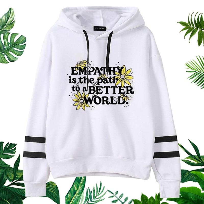 SAVE THE BEES Hoodies Enirometal Costumes Women Letter Printed Full Sleeve Hooded Sweatshirts Female Pullover