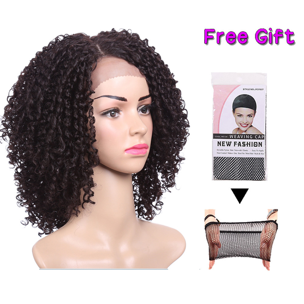 14inch Short Hair Kinky Curly Wig Synthetic Lace Front Wig African American Wigs For Black Women Heat Resistant Hair Expo City