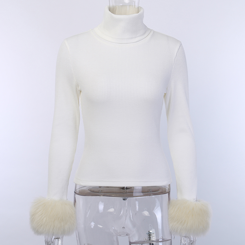 S M L Heart Pullover Sweater Furry Fluffy Stretchy Long Sleeve Warm Ivory