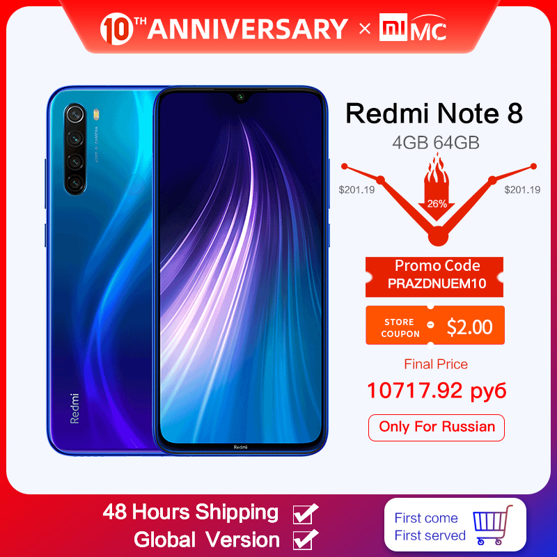 Xiaomi Redmi Note-8 48MP 64GB LTE/GSM/WCDMA Quick Charge 3.0 Octa Core Fingerprint Recognition title=