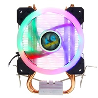 RGB Led Fan CPU Cooler 2 Copper Heatpipe 4Pin 5 Light Cooling Fan 9cm Cooler Fan For Intel 775/1150/1151/1155/1156/1366 All AMD