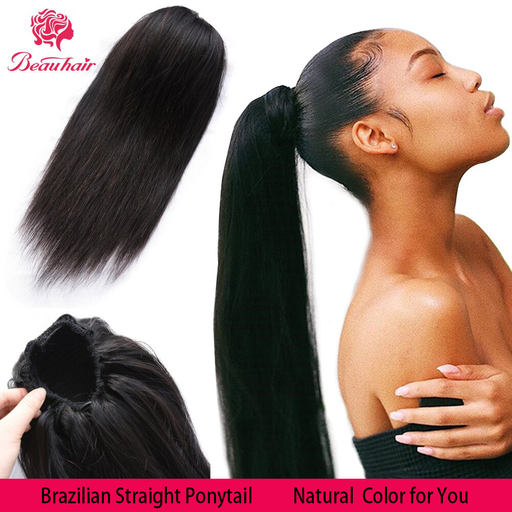 Drawstring Ponytail Hair-Extension Human-Hair Non-Remy Straight Black-Women Brazilian title=