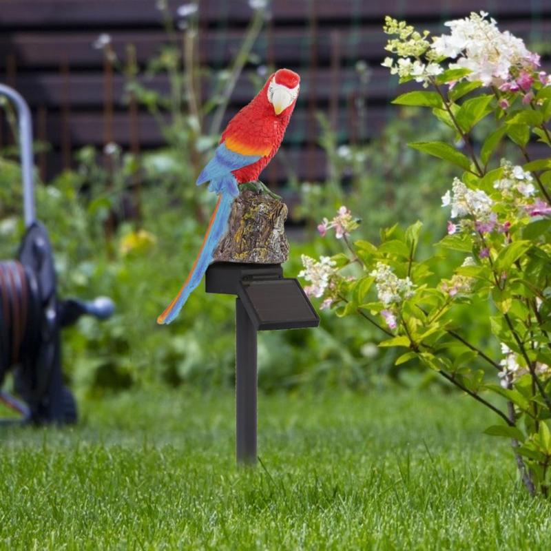 Solar Power LED Parrot Lawn Light Outdoor Waterproof Garden Landscape Decor Lamp